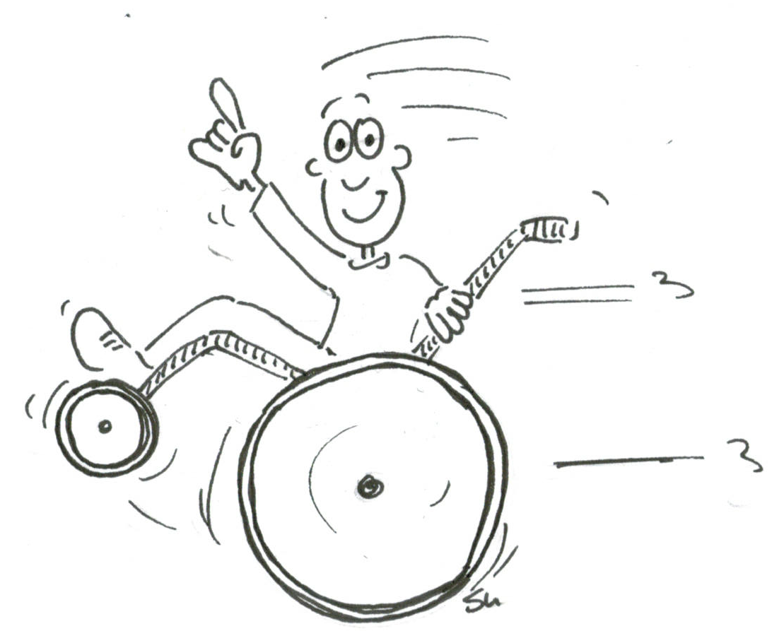 Grüßender Rollstuhlfahrer